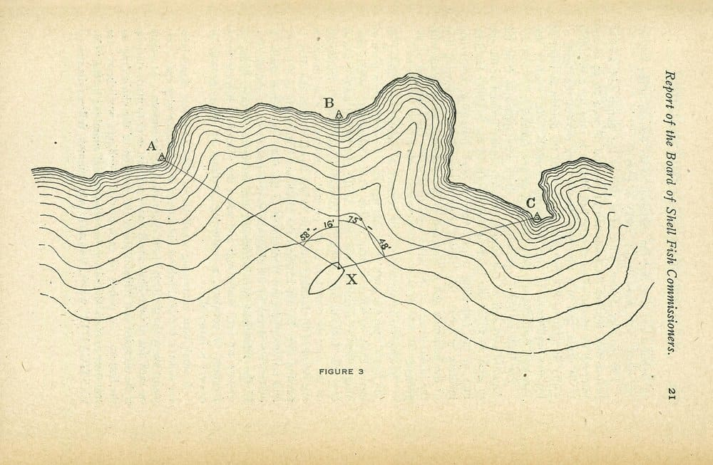 An example of how the surveyors triangulated an oyster bed location.- NOAA Central Library