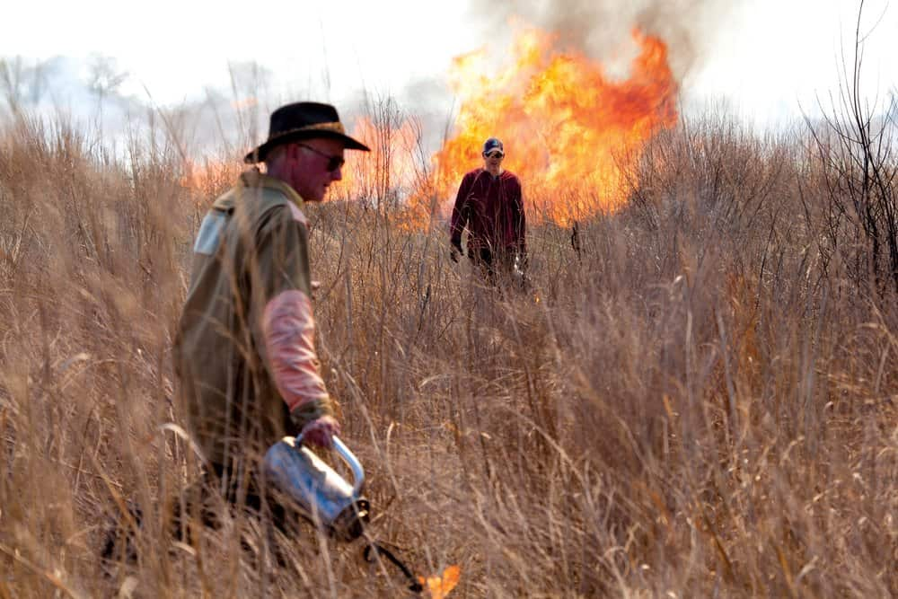 Dan Small and landowner Harry Sears use a controlled fire to manage part of a warm season grassland at The River and Field Campus.  Will Parson/Chesapeake Bay Program