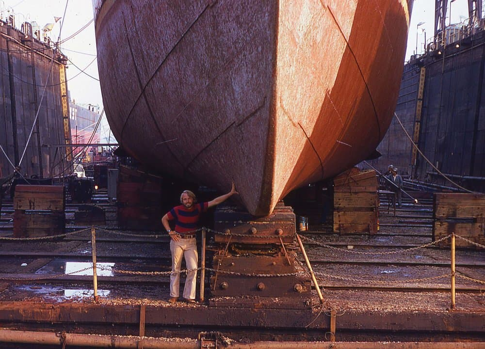 Bill Band leaning on the hull of the pilot boat  Baltimore  while in drydock in Baltimore, July 1973.  photo by Captain Tommy Veal