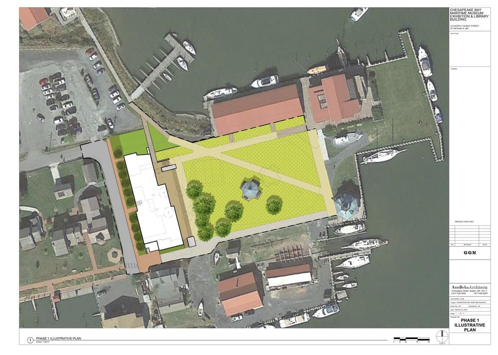The white shaded portion of this aerial view of the CBMM campus is a rendering of the footprint of the new exhibition/library building. The structure features a shaded porch overlooking the waterfront and the Hooper Strait Lighthouse. Photo: CBMM