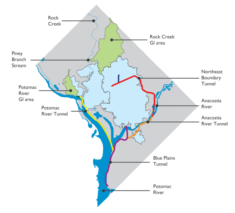 The Clean Rivers System for the Anacostia River, the Potomac River,and Rock Creek. Photo: DC Water
