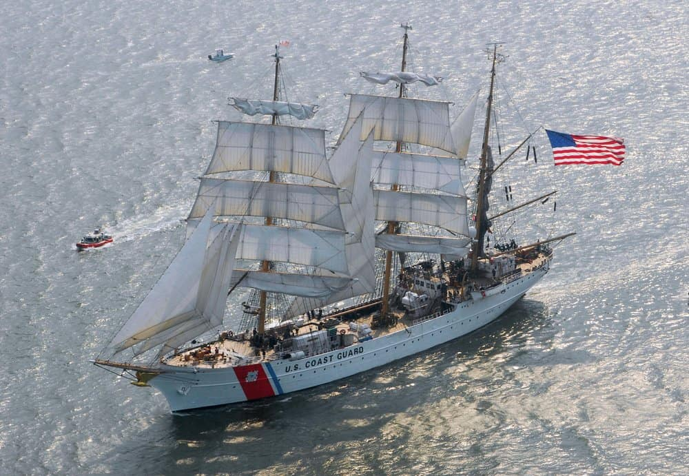 The  Eagle  underway under nearly-full sail in 2009.Photo by Karen Soule.
