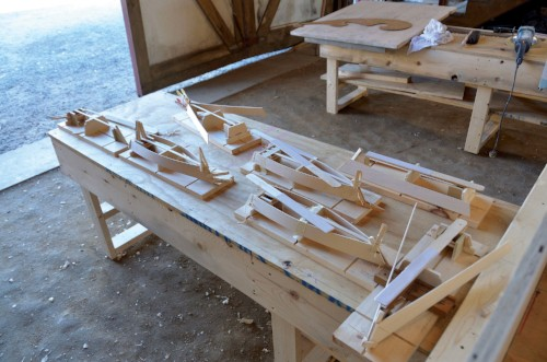 Scale model crab skiffs under construction in the Chesapeake Bay Maritime Museum's Rising Tide boat-building program.Photo by Dick Cooper.
