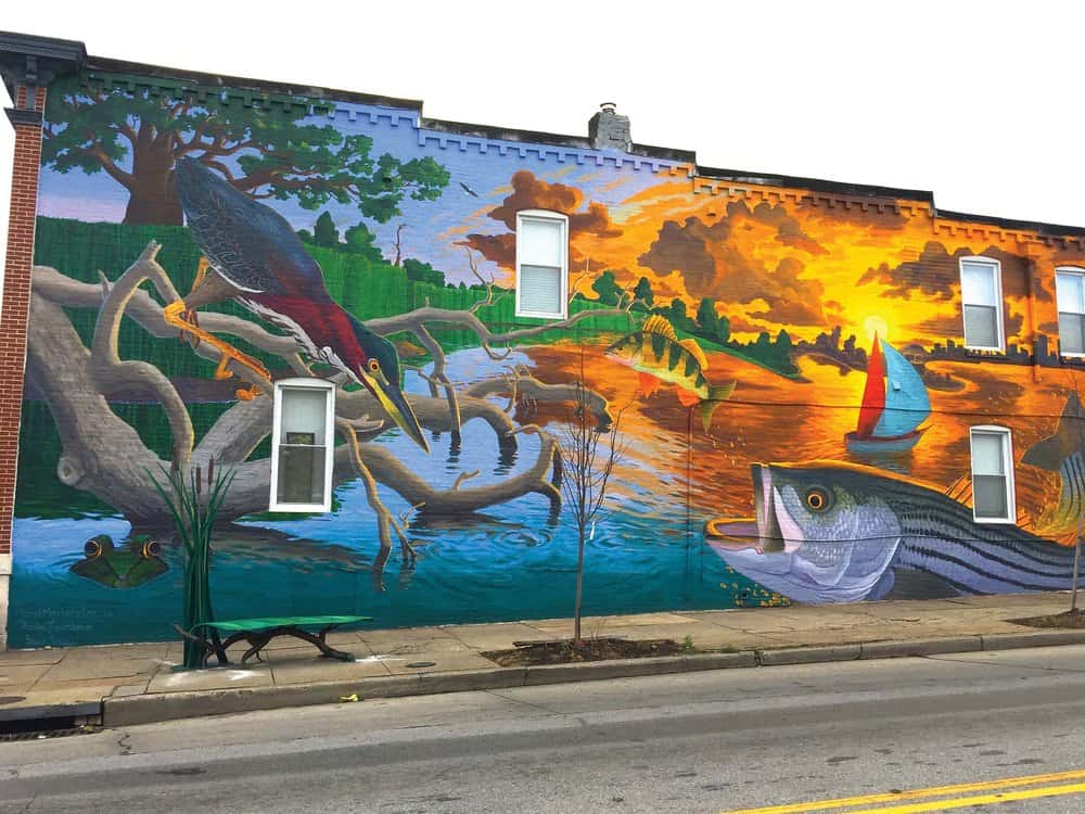 Lawrance collaborated with Mural Masters, Inc. to create this piece in Baltimore celebrating the Bay