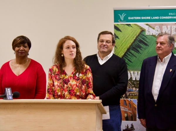 From left: Cambridge mayor Victoria Jackson-Stanley,ESLC Director of Conservation Katie Parks White, Dorchester County Council President Ricky Travers, and Dennis Carmichael of Parker Rodriguez