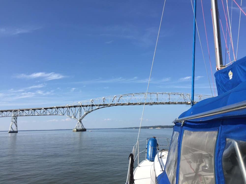Passing under the Governor Harry Nice Memorial Bridge, just outside of Leonardtown, Md. Photo by Jody Argo Schroath