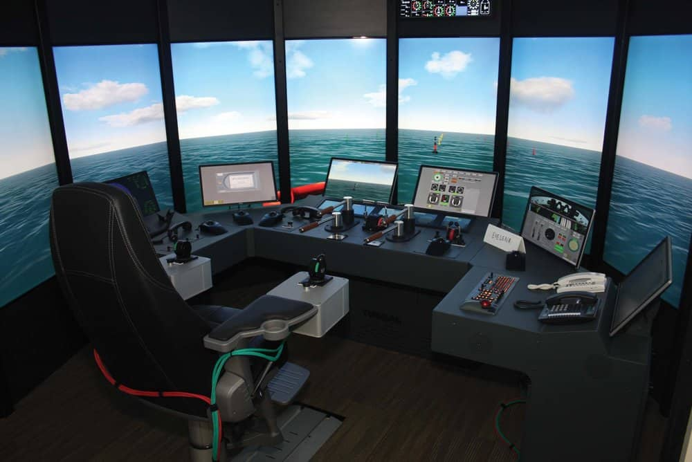 Full ship bridge helm simulator at the Paul Hall Maritime Center.  Photo by: Paul Hall Maritime Center
