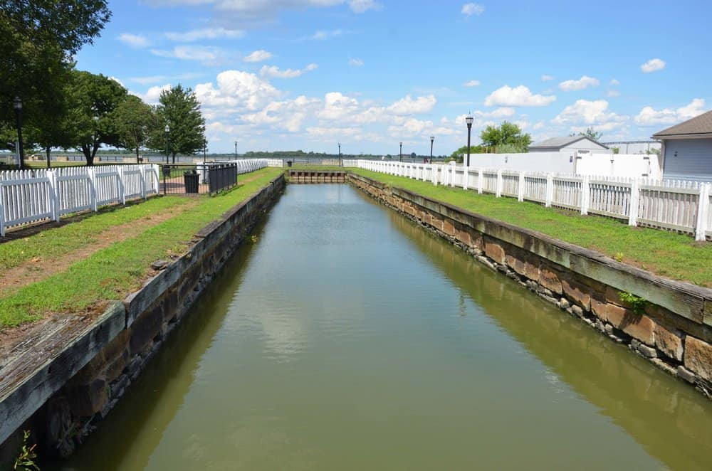 The last remaining lock from the canal's first iteration at Delaware City.