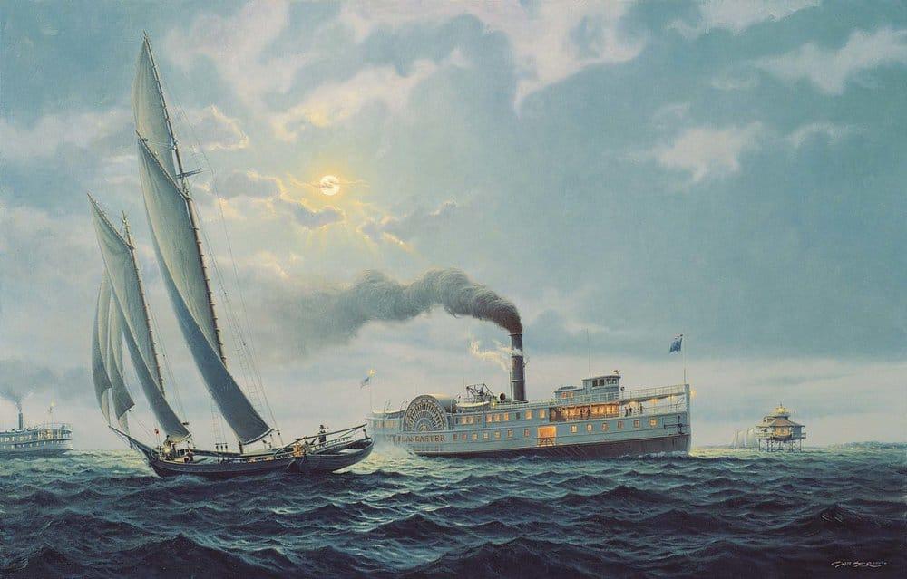 "Moonlight Run  Oil on Linen, 22""x34"". By John Barber."