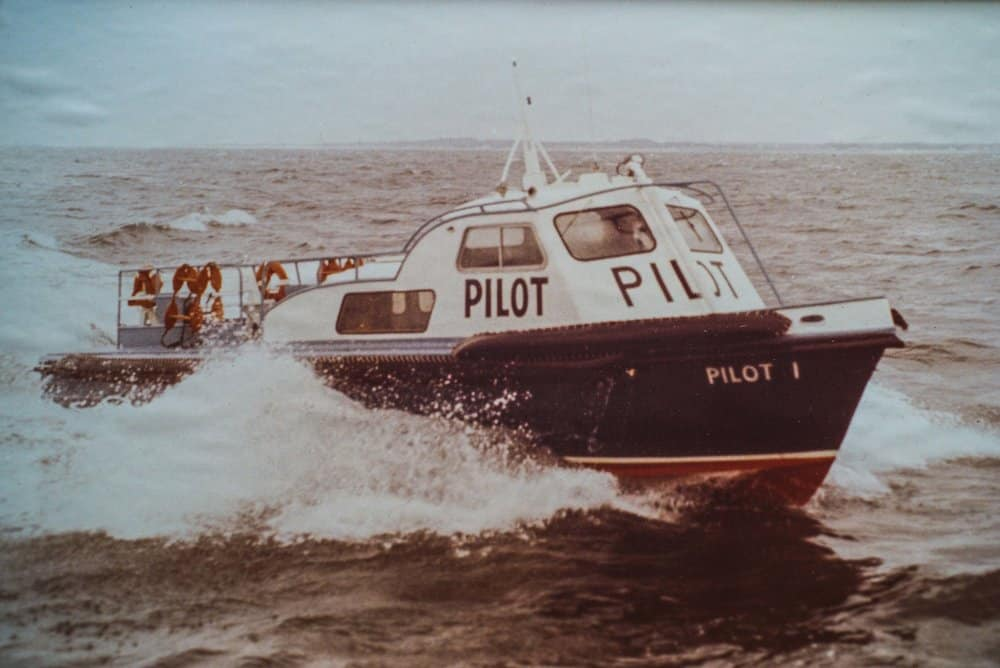 Pilot launch  Pilot 1  would ferry pilots to and from ships in all kinds of weather . photo by R ussell Stowe