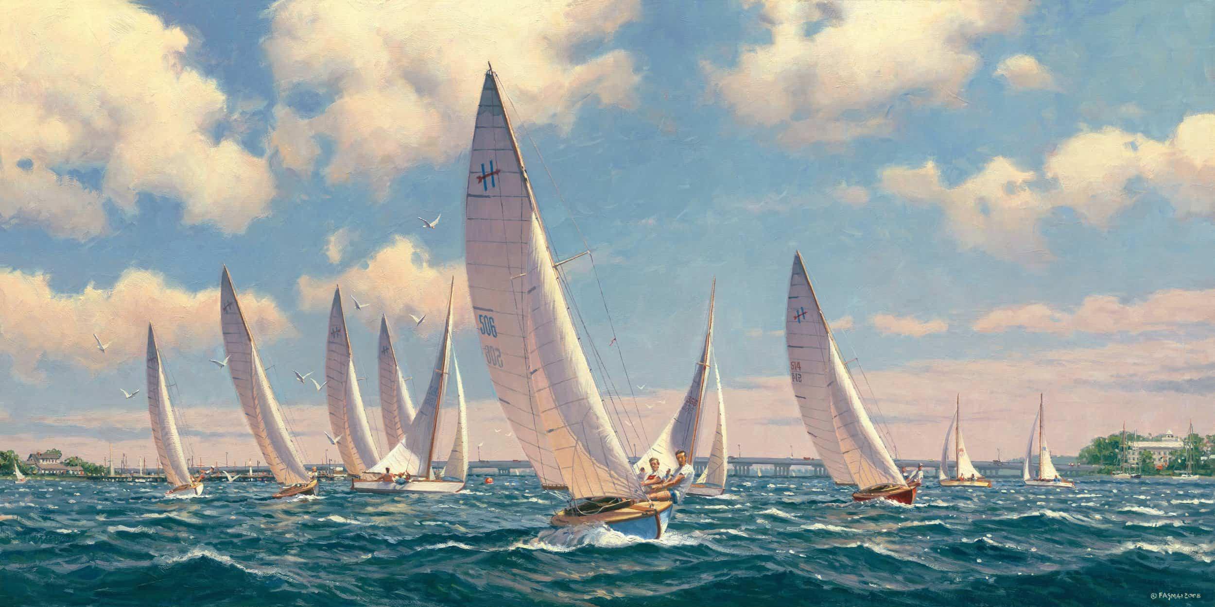"Reaching for the Finish  Oil on Linen, 15"" x 30"". By John Barber."