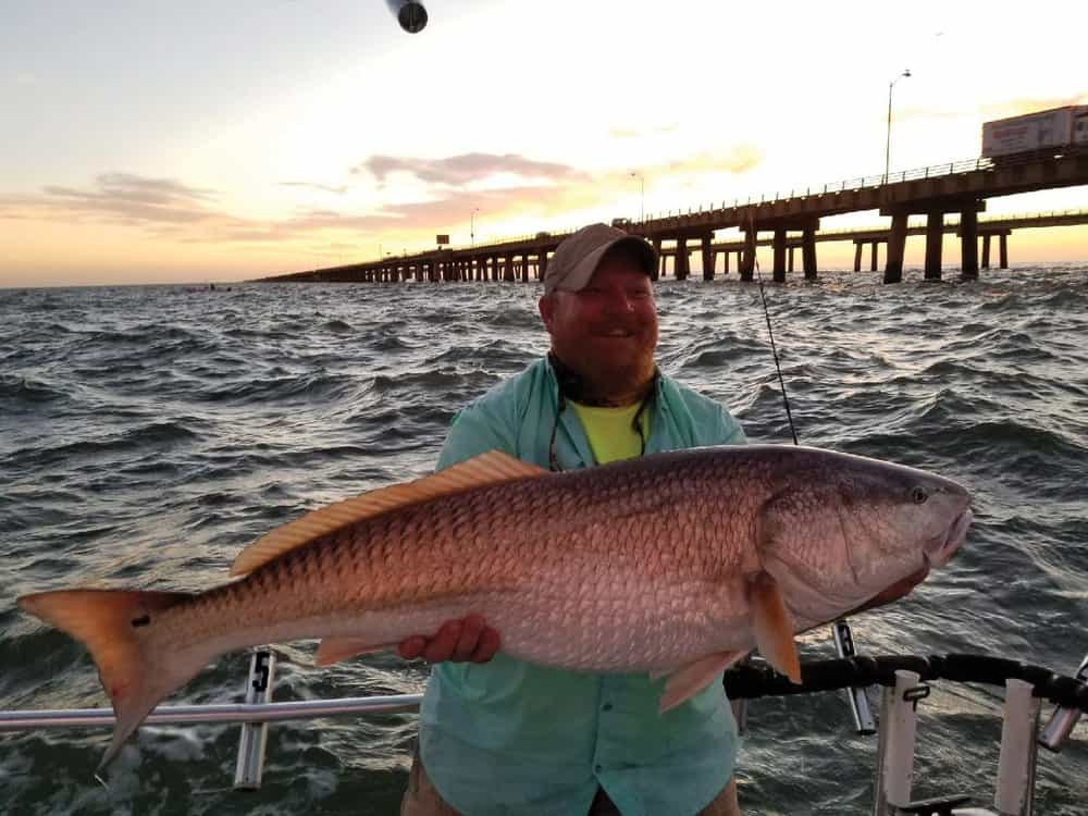 Danny Greer's awesome Chesapeake Bay Bridge Tunnel redfish.  Photo by Captain Kenny Louderback