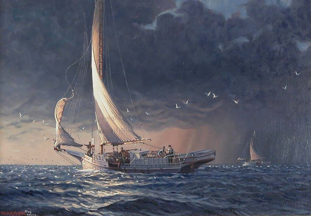 """Reef 'er Down Boys  Oil on Linen, 10"""" x 15"""". By John Barber."""