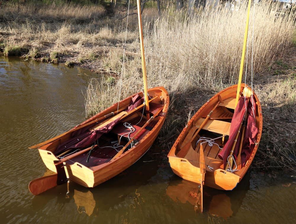 Two of CLC's new 10-foot Tenderly dinghies.