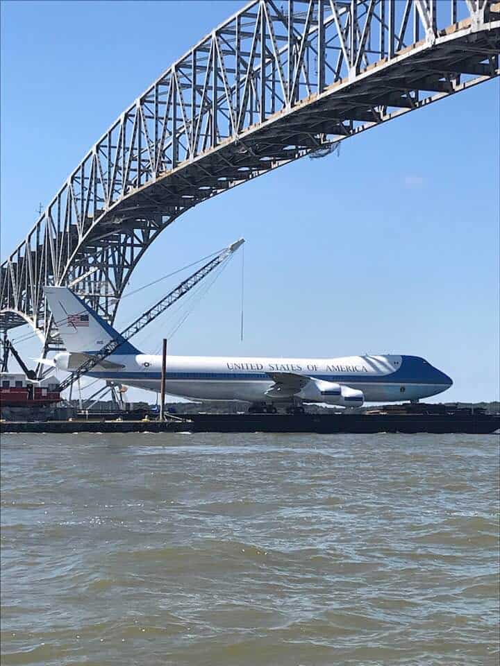 Charles County Commissioner Ken Robinson caught this photo of the plane under the bridge.