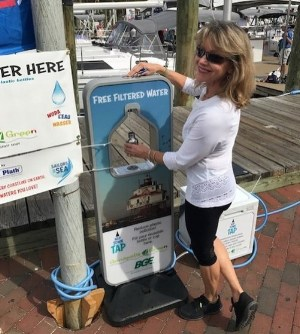 Annapolis Green debuted its refillable water station outside our tent at last year's Annapolis Boat Shows. Look for the station again this year.