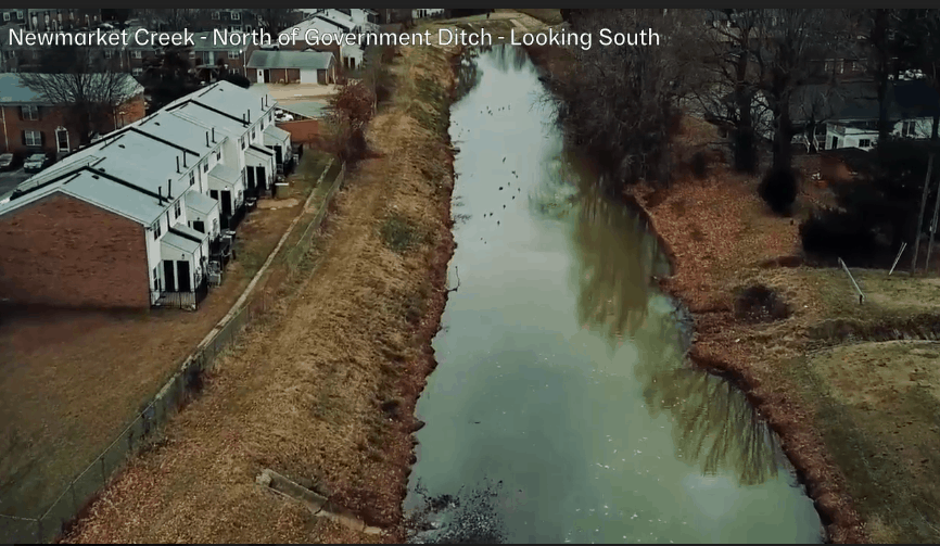 A drone's-eye view over Newmarket Creek in Hampton. Courtesy of Hampton Division of Fire & Rescue