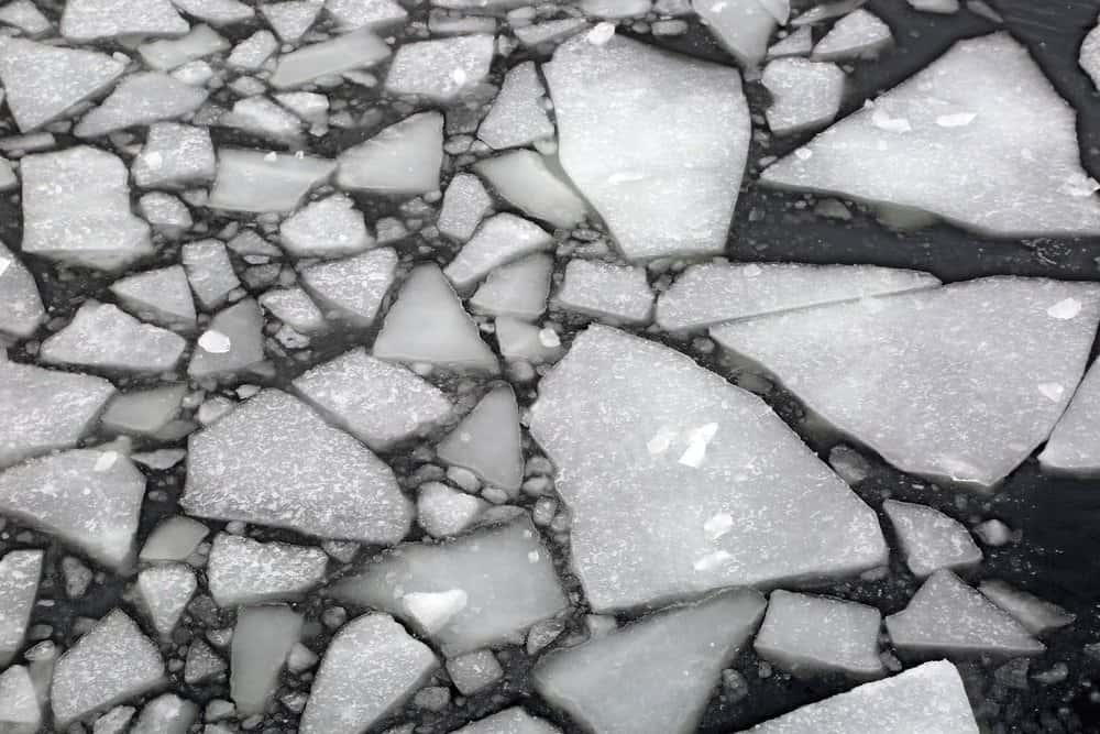 Broken floes spin away from the Sandusky's hull in geometric patterns. Photo by Wendy Mitman Clarke