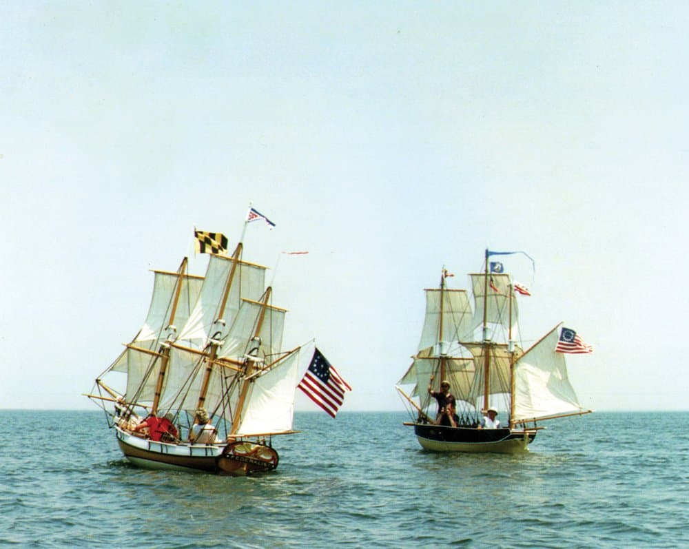 As captain of the miniature replica Maryland Federalist on her trip to Mount Vernon from Baltimore. Photo by Joe Evans.