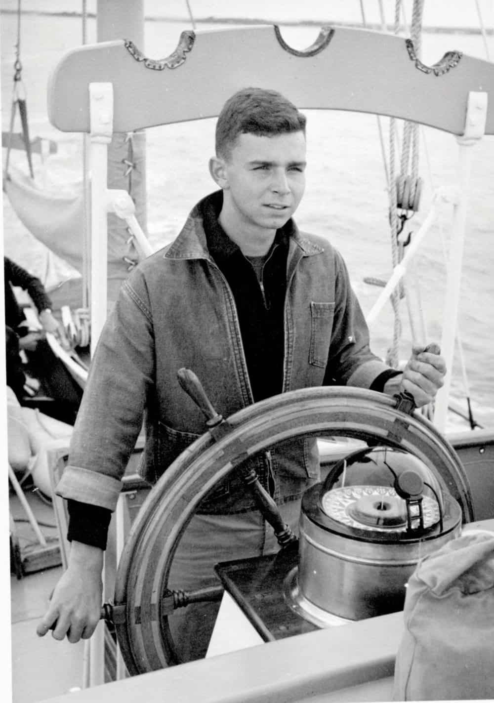 Hecklinger, age 18, at the helm of a 59-foot motorsailor.Photo by Joe Evans.