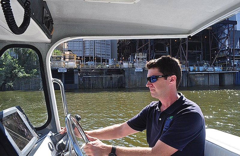 Lower James Riverkeeper Jamie Brunkow on patrol                          Photo: Whitney Pipkin