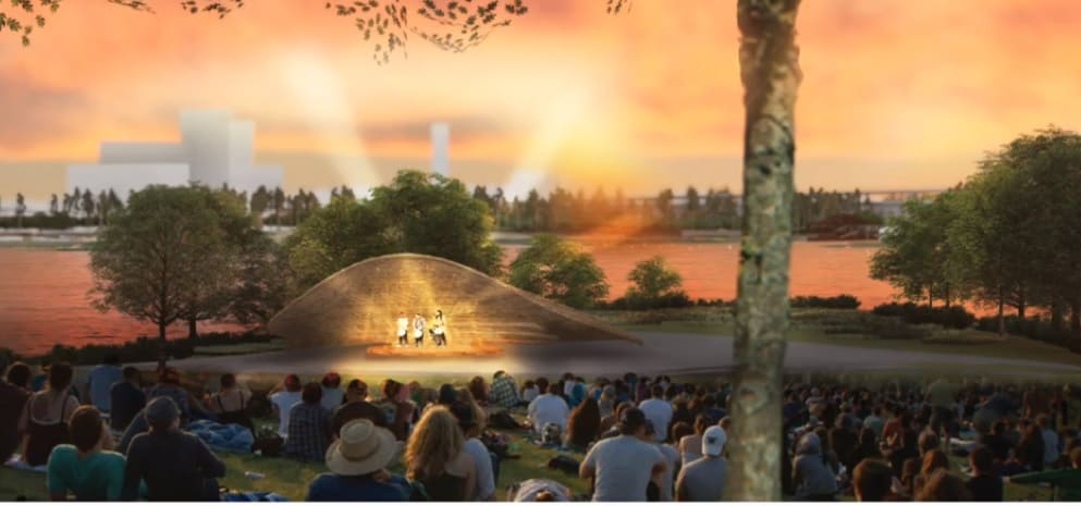 """West 8's""""Blue Green Heart"""" design includes n ampitheater with a band shell."""