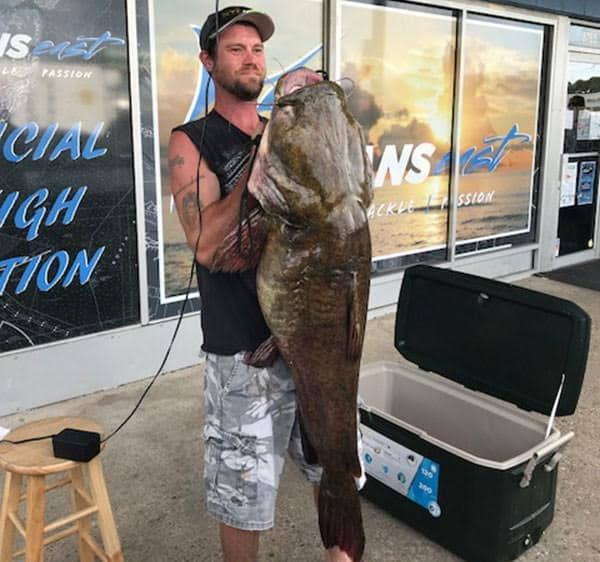 Jeffrey E. Dill hooked this 68-pound, 12-pound flathead catfish while fishing Lake Smith near Virginia Beach to set the new state record for that species. (Photo courtesy of Oceans East/VA Dpt. of Game & Inland Fisheries)