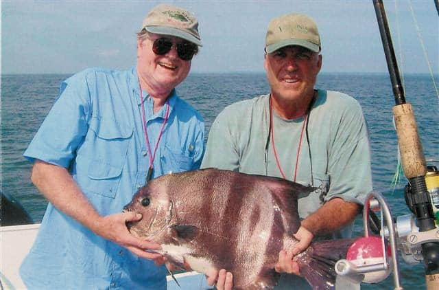 Virginia Saltwater Fishing Tournament lowered the Citation minimum weight for spadefish to 8 pounds. Currently, Roland E. Murphy [left] of Fredericksburg holds the Virginia state record spadefish at 14-pounds, 14-ounces. Photo courtesy Virginia Saltwater Fishing Tournament