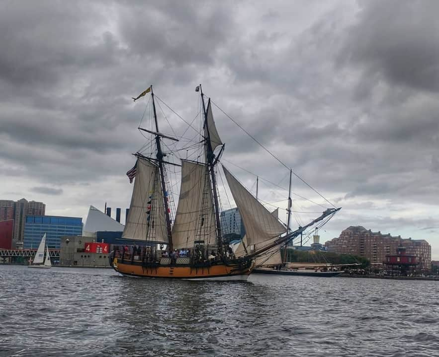 SULTANA joins the pre-race Parade of Sail in Baltimore. Photo by @all_seas on Instagram, taken from S/V Panthalassa