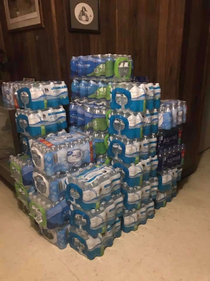 Cases of water collected by Chincoteague Elementary School students. Photo: Onancock Elks Lodge/Facebook