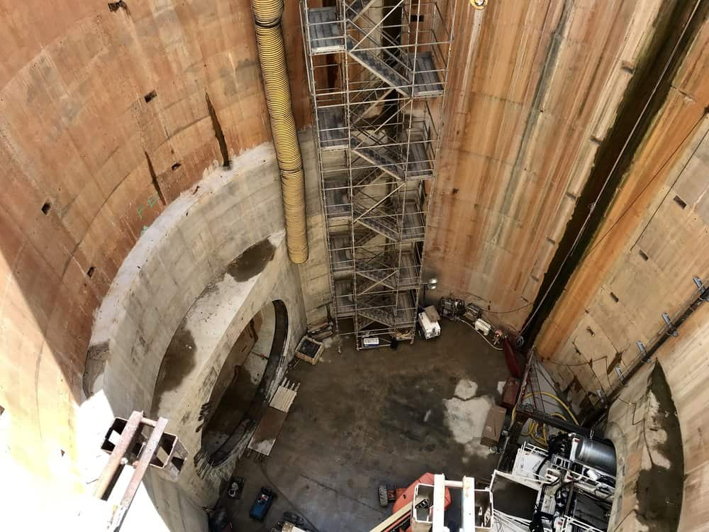 A peek into the 150-foot-deep hole where the machine will go. Photo: Natalie Jones
