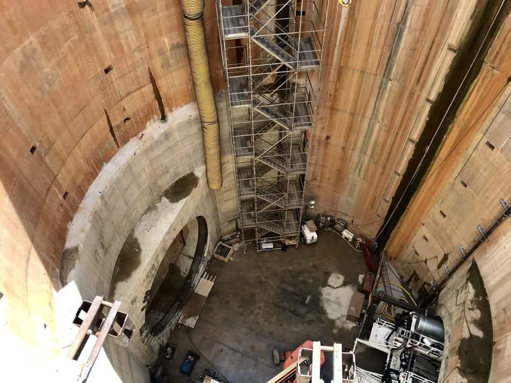 A peek into the 150-foot-deep hole where the machine will go. Photo: Natalie Jones