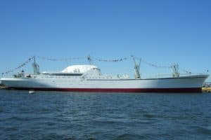 600-ft Historic Nuclear Ship Towed through Upper Bay