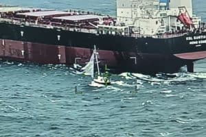 VIDEO: 958-Ft. Baltimore-Bound Ship Rescues Two from Sailboat in Rough Seas