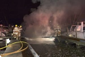 VIDEO: Sailboat Burns, Sinks at Annapolis Marina
